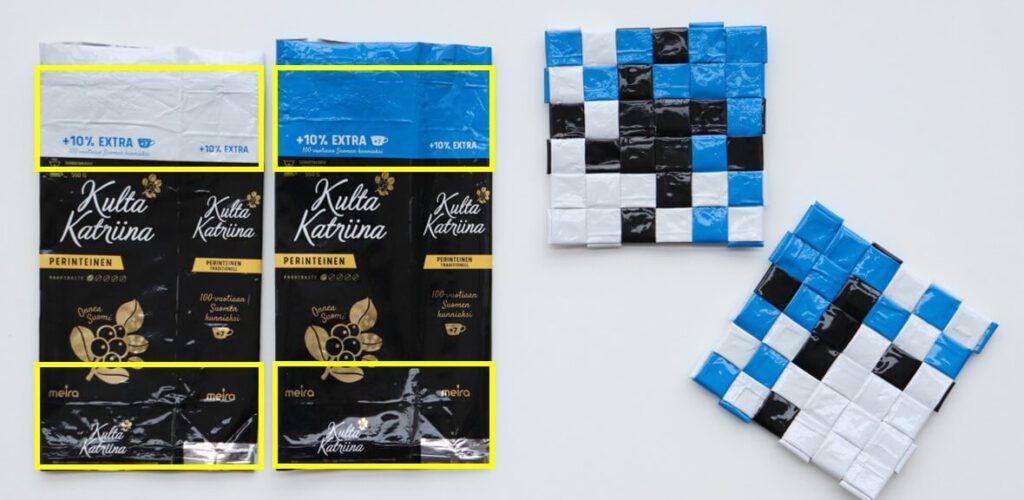 Kulta Katriina Suomi 100 kahvipusseista puutupunonnalla punottuja sini-valko-mustia malliruutuja.